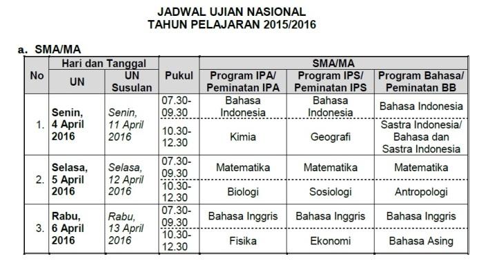 jadwal UN SMA