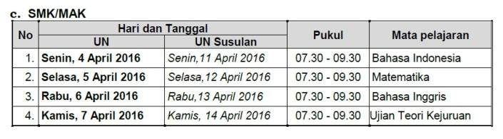 Jadwal UN SMK